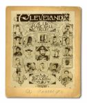 "CY YOUNG AUTOGRAPHED 1896 CLEVELAND SPIDERS UNIQUE 7"" BY 8-1/2"" COMPOSITE TEAM CABINET PHOTO WITH CARICATURES (FROM CY YOUNGS PERSONAL COLLECTION)"