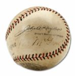 JOHN MCGRAW, BILL KLEM, BILL DINNEEN,  AND GEORGE MAGERKURTH SIGNED BASEBALL (HELMS/LA84 COLLECTION)