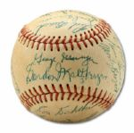1953 PACIFIC COAST LEAGUE CHAMPION HOLLYWOOD STARS TEAM SIGNED BASEBALL  (HELMS/LA84 COLLECTION)