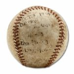 1934 WORLD SERIES (ST. LOUIS CARDINALS AT DETROIT TIGERS) GAME USED BASEBALL FROM GAME 6 PLAYED ON OCTOBER 8, 1934  (HELMS/LA84 COLLECTION)
