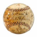 1932 MISSION REDS PACIFIC COAST LEAGUE SIGNED BASEBALL GIVEN TO A 10 YEAR OLD FUTURE PCL HALL OF FAMER JOE BROVIA  (HELMS/LA84 COLLECTION)