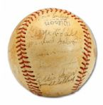 1942 BOSTON BRAVES TEAM SIGNED BASEBALL (HELMS/LA 84 COLLECTION)