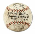 1924 WORLD TOUR BASEBALL SIGNED BY CHICAGO WHITE SOX AND NEW YORK GIANTS TEAMS (HELMS/LA84 COLLECTION)