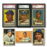 1952 TOPPS BASEBALL COMPLETE SET OF 407 WITH 56 CARDS GRADED INC. #311 MICKEY MANTLE ROOKIE EX PSA 5
