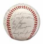 HIGH GRADE 1963 LOS ANGELES DODGERS WORLD CHAMPIONS TEAM SIGNED BASEBALL (SKOWRON FAMILY LOA)