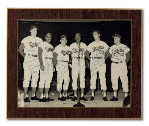"WOOD LAMINATED PHOTO OF ""MOOSE"" SKOWRON WITH 1963 L.A. DODGER TEAMMATES (INCL. DRYSDALE, HOWARD, PERRANOWSKI, AND WILLIE & TOMMY DAVIS) SIGNED & PERSONALIZED BY EACH (SKOWRON FAMILY LOA)"