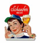 1950S BROOKLYN DODGERS SCHAEFER BEER EASEL-BACK DISPLAY SIGN