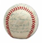 EXCEPTIONAL 1947 NL CHAMPION BROOKLYN DODGERS TEAM SIGNED BASEBALL WITH (ROOKIE) JACKIE ROBINSON AND BRANCH RICKEY