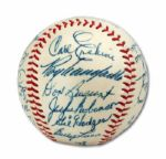 HIGH-GRADE 1955 WORLD CHAMPION BROOKLYN DODGERS TEAM SIGNED BASEBALL
