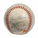 1962 HALL OF FAME INDUCTION MULTI-SIGNED BASEBALL INCL. JACKIE ROBINSON