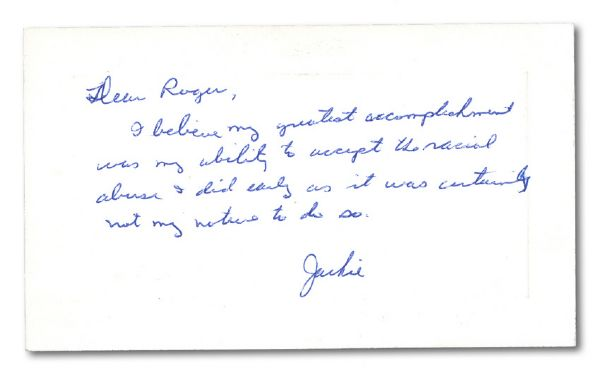REMARKABLE JACKIE ROBINSON HANDWRITTEN NOTE TO A FAN - A SUCCINCT AND COMPELLING PROFILE OF JACKIES CHARACTER IN HIS OWN WORDS