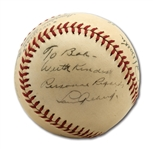 EXTREMELY RARE 1940-42 BASEBALL SIGNED BY LOU GEHRIG, JOE DIMAGGIO, RED RUFFING, AND 3 OTHERS