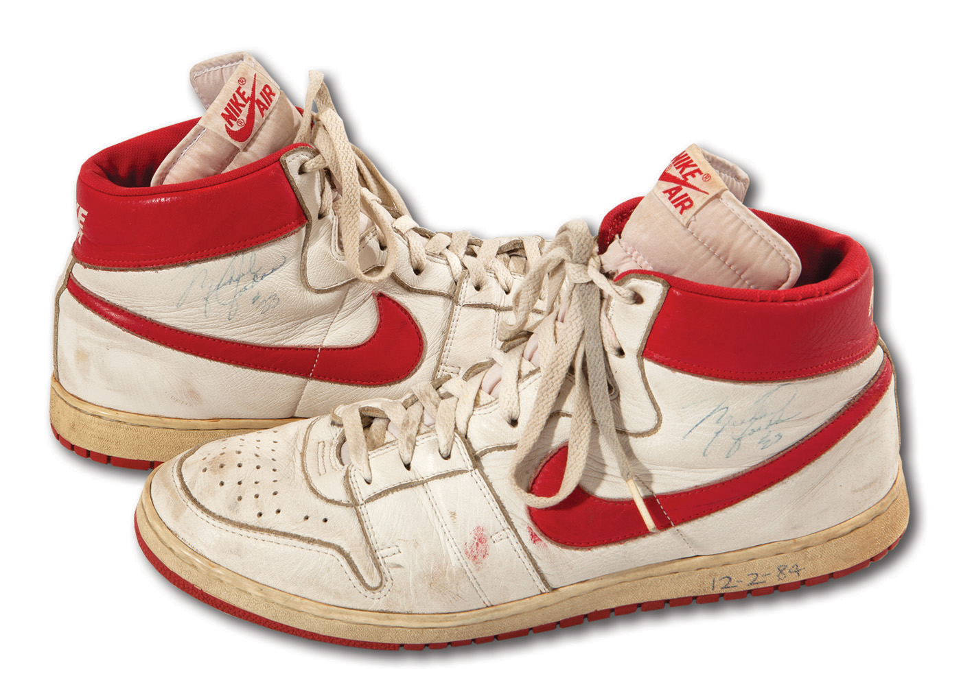 c066840445da6 MONUMENTAL MICHAEL JORDAN SIGNED PAIR OF NIKE AIR SHIP GAME WORN (ROOKIE  SEASON) SHOES. Touch to zoom