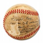 1940'S SATCHEL PAIGE AND JOSH GIBSON DUAL SIGNED BASEBALL WITH TEAM NOTATIONS –1 OF ONLY 2 KNOWN