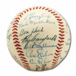 FINE 1954 BROOKLYN DODGERS TEAM SIGNED ONL (GILES) BASEBALL WITH CAMPANELLA - CLUBHOUSE ROBINSON