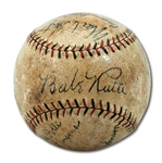 EXQUISITE 1930 NEW YORK YANKEES TEAM SIGNED ONL (HEYDLER) BASEBALL WITH 18 AUTOGRAPHS INCL. RUTH & GEHRIG (MLB PLAYER PROVENANCE)