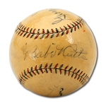 FINE BABE RUTH, LOU GEHRIG, TY COBB, GEORGE SISLER & TONY LAZZERI (PLUS 1 OTHER) MULTI-SIGNED OAL (JOHNSON) BASEBALL WITH FASCINATING COBB PROVENANCE