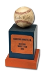 "1940 BABE RUTH SIGNED BASEBALL TROPHY BALL GIVEN TO WINNER OF THE ""TYPICAL AMERICAN FAMILY"" CONTEST AT THE 1939-40 NEW YORK WORLDS FAIR"