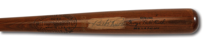 BABE RUTH AUTOGRAPHED HILLERICH & BRADSBY MODEL 40 B.R. SIGNATURE MODEL BAT