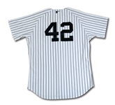 2011 DEREK JETER NEW YORK YANKEES JACKIE ROBINSON DAY #42 GAME WORN HOME JERSEY (YANKEES, MLB AUTH.)