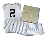 MILESTONE 7/22/2014 DEREK JETER SIGNED NEW YORK YANKEES GAME WORN HOME UNIFORM AND SIGNED 2ND BASE BAG USED TO BREAK LOU GEHRIGS FRANCHISE DOUBLES RECORD! (STEINER LOA, MLB AUTH.)
