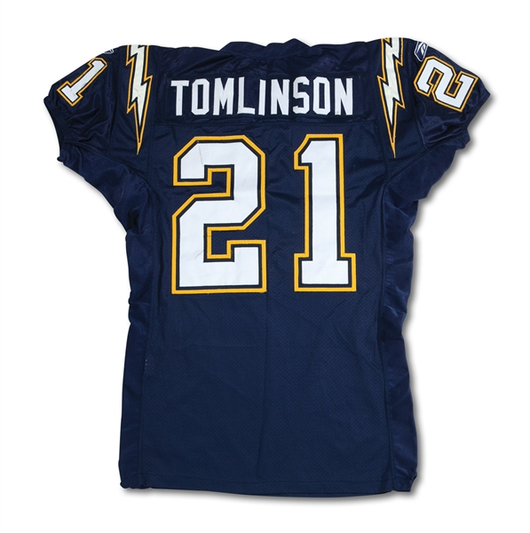 2003 LADAINIAN TOMLINSON SAN DIEGO CHARGERS GAME WORN HOME JERSEY - GREAT USE WITH TEAM REPAIRS