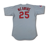 1997 MARK MCGWIRE AUTOGRAPHED ST. LOUIS CARDINALS GAME WORN ROAD JERSEY (DELBERT MICKEL COLLECTION)