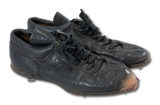 DON DRYSDALES CIRCA 1960S LOS ANGELES DODGERS GAME WORN PAIR OF SPOT BILT SPIKES WITH INCREDIBLE USE (DRYSDALE COLLECTION)