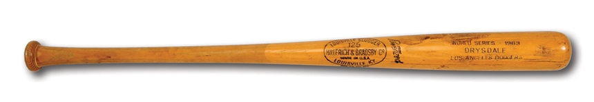 DON DRYSDALES 1963 WORLD SERIES GAME USED LOUISVILLE SLUGGER PROFESSIONAL MODEL BAT WITH GREAT USE (DRYSDALE COLLECTION, PSA/DNA GU10)