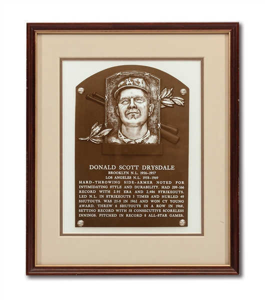 DON DRYSDALES 1984 NATIONAL BASEBALL HALL OF FAME INDUCTION PRESENTATION PLAQUE (DRYSDALE COLLECTION)