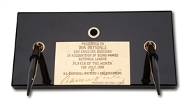 DON DRYSDALES JULY 1959 NATIONAL LEAGUE PLAYER OF THE MONTH AWARD PRESENTED BY N.L. BASEBALL WRITERS & BROADCASTERS (DRYSDALE COLLECTION)