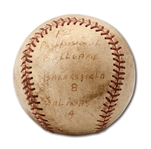 DON DRYSDALES 1954 GAME USED BASEBALL FROM HIS PROFESSIONAL DEBUT WITH CLASS C BAKERSFIELD INDIANS (DRYSDALE COLLECTION)