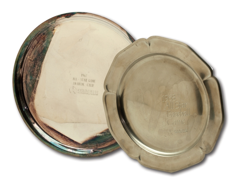 DON DRYSDALES PAIR OF 1967 AND 1968 MLB ALL-STAR GAME PARTICIPATORY AWARD SERVING TRAYS (DRYSDALE COLLECTION)