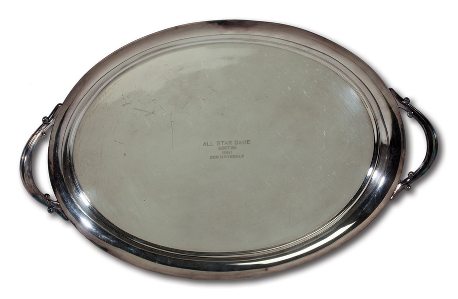 DON DRYSDALES 1961 MLB ALL-STAR GAME PARTICIPATORY AWARD SERVING TRAY (DRYSDALE COLLECTION)