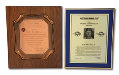DON DRYSDALES PAIR OF WESTWOOD SHRINE CLUB AWARDS INCLUDING 1965 MERIT AWARD PLAQUE (DRYSDALE COLLECTION)