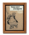 DON DRYSDALES CIRCA 1950S WILLARD MULLIN ORIGINAL ARTWORK OF BROOKLYN BUM SIGNED BY SEVERAL DODGERS (DRYSDALE COLLECTION)