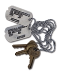 DON DRYSDALES U.S. ARMY DOG TAGS AND TRUNK KEYS (DRYSDALE COLLECTION)