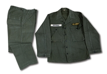 DON DRYSDALES SET OF 1957-58 U.S. ARMY FATIGUE SHIRT AND PANTS (DRYSDALE COLLECTION)