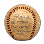 DON DRYSDALES 8/23/1958 GAME USED BASEBALL FROM GAME HE HIT 7TH HOME RUN OF SEASON TO TIE NATIONAL LEAGUE RECORD FOR PITCHERS (DRYSDALE COLLECTION)