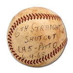DON DRYSDALES 6/4/1968 GAME USED BASEBALL FROM HIS MLB RECORD 6TH STRAIGHT COMPLETE GAME SHUTOUT AND 2ND TO LAST START DURING HIS 58 2/3 SCORLESS INNINGS STREAK (DRYSDALE COLLECTION)