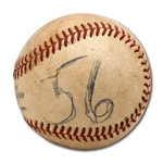 DON DRYSDALES 6/8/1968 GAME USED BASEBALL FROM GAME HE SET MLB RECORD WITH 58 2/3 CONSECUTIVE SCORELESS INNINGS STREAK (DRYSDALE COLLECTION)