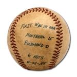 DON DRYSDALES 4/27/1955 GAME USED BASEBALL FROM HIS FIRST INTERNATIONAL LEAGUE (AAA) WIN WITH MONTREAL ROYALS (DRYSDALE COLLECTION)