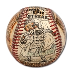 "DON DRYSDALES SIGNED 58 2/3 SCORELESS INNING STREAK TRIBUTE BASEBALL HAND PAINTED BY GEORGE SOSNAK WITH ""GAME-BY-GAME DONS EPIC STREAK"" NOTATION (DRYSDALE COLLECTION)"