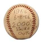 DON DRYSDALES 6/8/1966 GAME USED BASEBALL FROM GAME HE RECORDED 2,000TH CAREER STRIKE OUT (DRYSDALE COLLECTION)