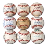 DON DRYSDALES BROOKLYN/LOS ANGELES DODGERS MULTI SIGNED BASEBALL LOT OF 9 (DRYSDALE COLLECTION)