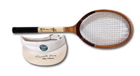 C.1932-34 ELLSWORTH VINES MATCH USED & SIGNED WILSON SIGNATURE MODEL RACQUET PLUS SIGNED & INSCRIBED WIMBLEDON VISOR (VINES LOA, NSM COLLECTION)
