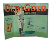 1930S BABE RUTH OLD GOLD CIGARETTES TRI-FOLD ADVERTISING DISPLAY - ONE OF THE HOBBYS FINEST EXAMPLES