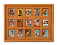DON DRYSDALES FRAMED DISPLAY OF HIS 1957-69 TOPPS REGULAR ISSUE BASEBALL CARDS (DRYSDALE COLLECTION)