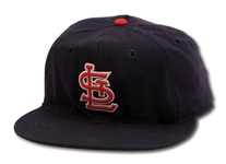 1964 DAL MAXVILL AUTOGRAPHED AND INSCRIBED ST. LOUIS CARDINALS WORLD SERIES GAME WORN CAP (DELBERT MICKEL COLLECTION)