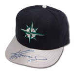C.1997-98 KEN GRIFFEY JR. AUTOGRAPHED SEATTLE MARINERS GAME WORN CAP (DELBERT MICKEL COLLECTION)